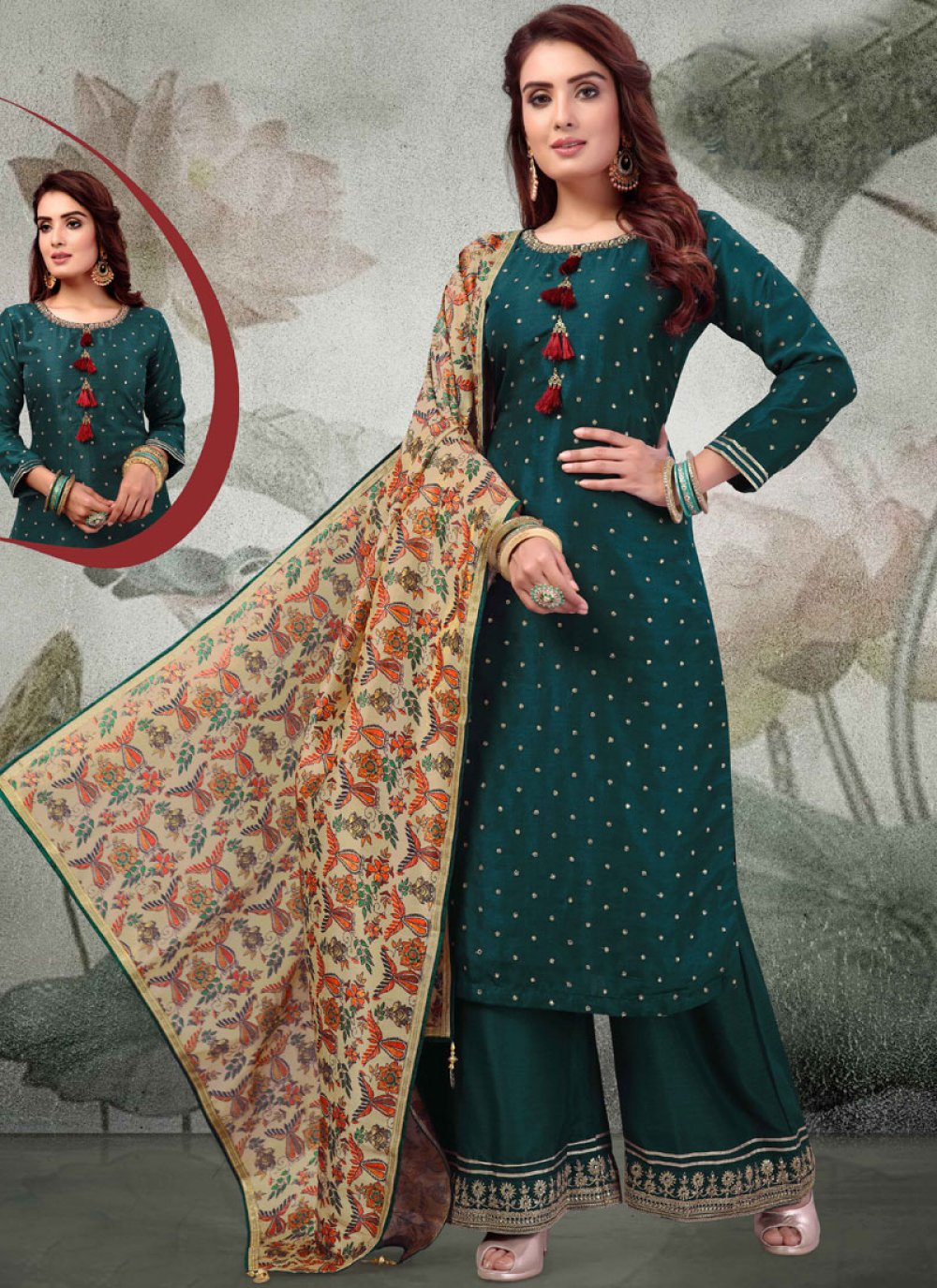 Designer Palazzo Salwar Suit Embroidered Art Silk in Green