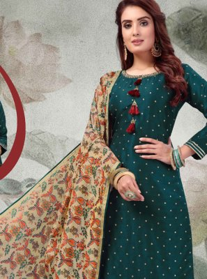 Designer Palazzo Salwar Suit Embroidered Art Silk in Green