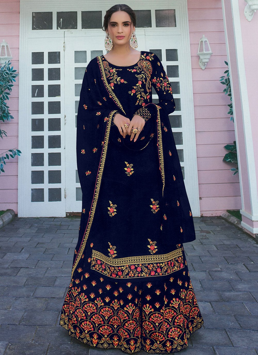 Designer Palazzo Salwar Suit Embroidered Faux Georgette in Navy Blue