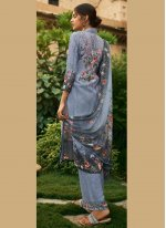 Designer Palazzo Suit Digital Print Faux Crepe in Grey