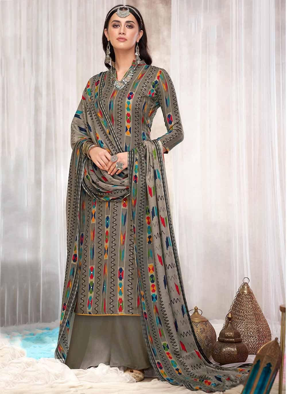 Designer Palazzo Suit Printed Pashmina in Multi Colour