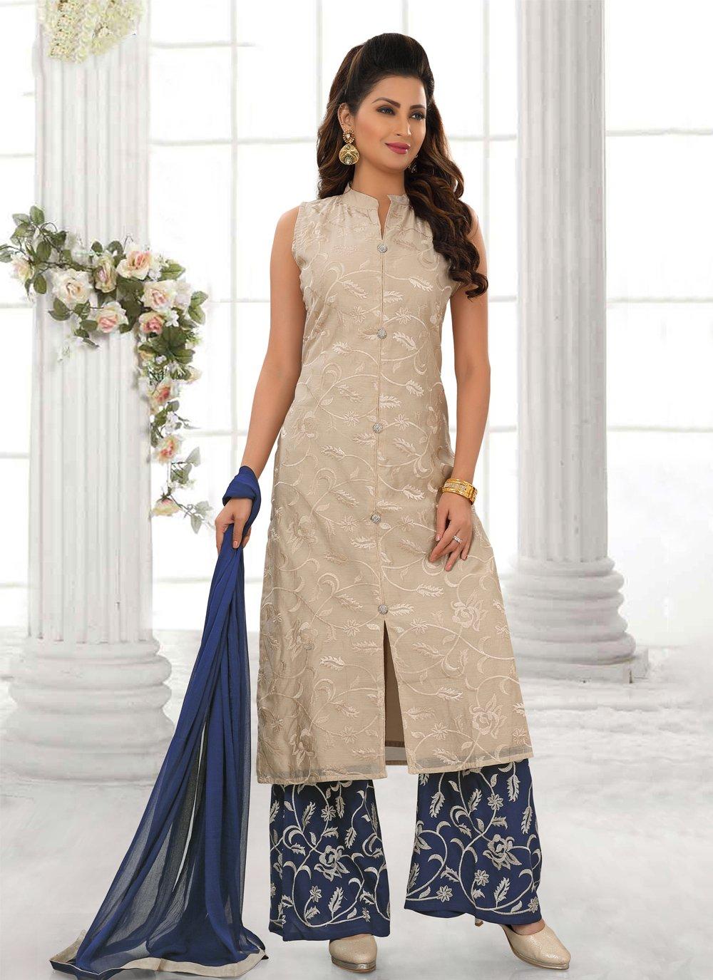 Designer Palazzo Suit Resham Cotton Silk in Beige