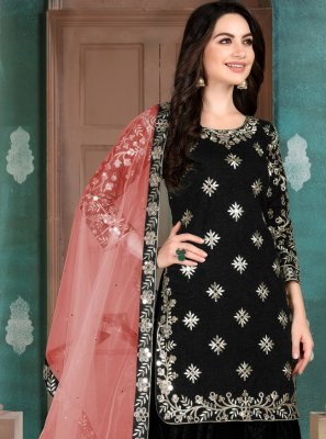 Designer Patiala Salwar Kameez Zari Art Silk in Black