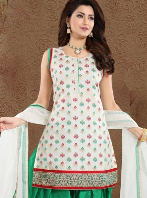 Designer Patiala Suit Embroidered Chanderi in Green and White