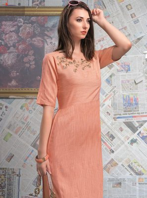 Designer Peach Rayon Party Wear Kurti