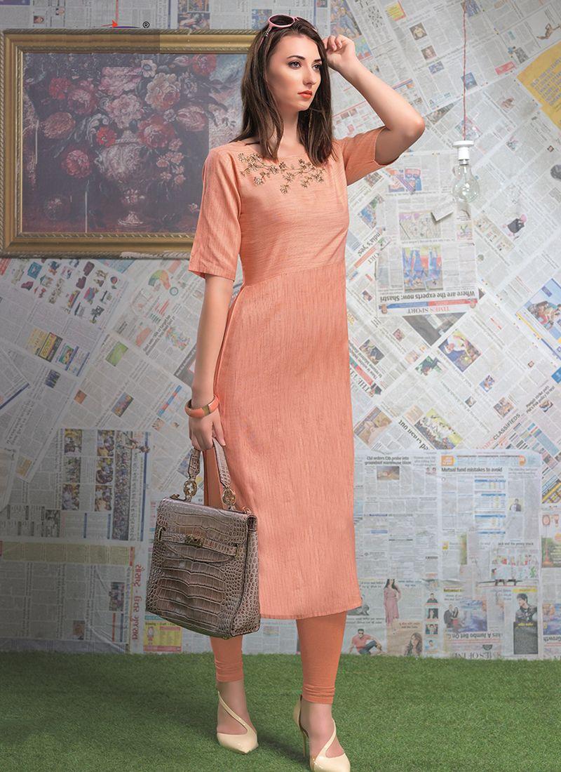 Designer Peach Rayon Party Wear Kurti
