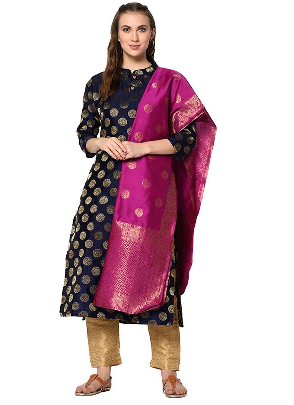 Designer Salwar Kameez Abstract Print Cotton in Navy Blue