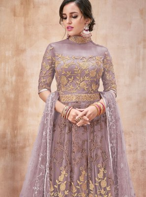 Designer Salwar Kameez Embroidered Net in Beige