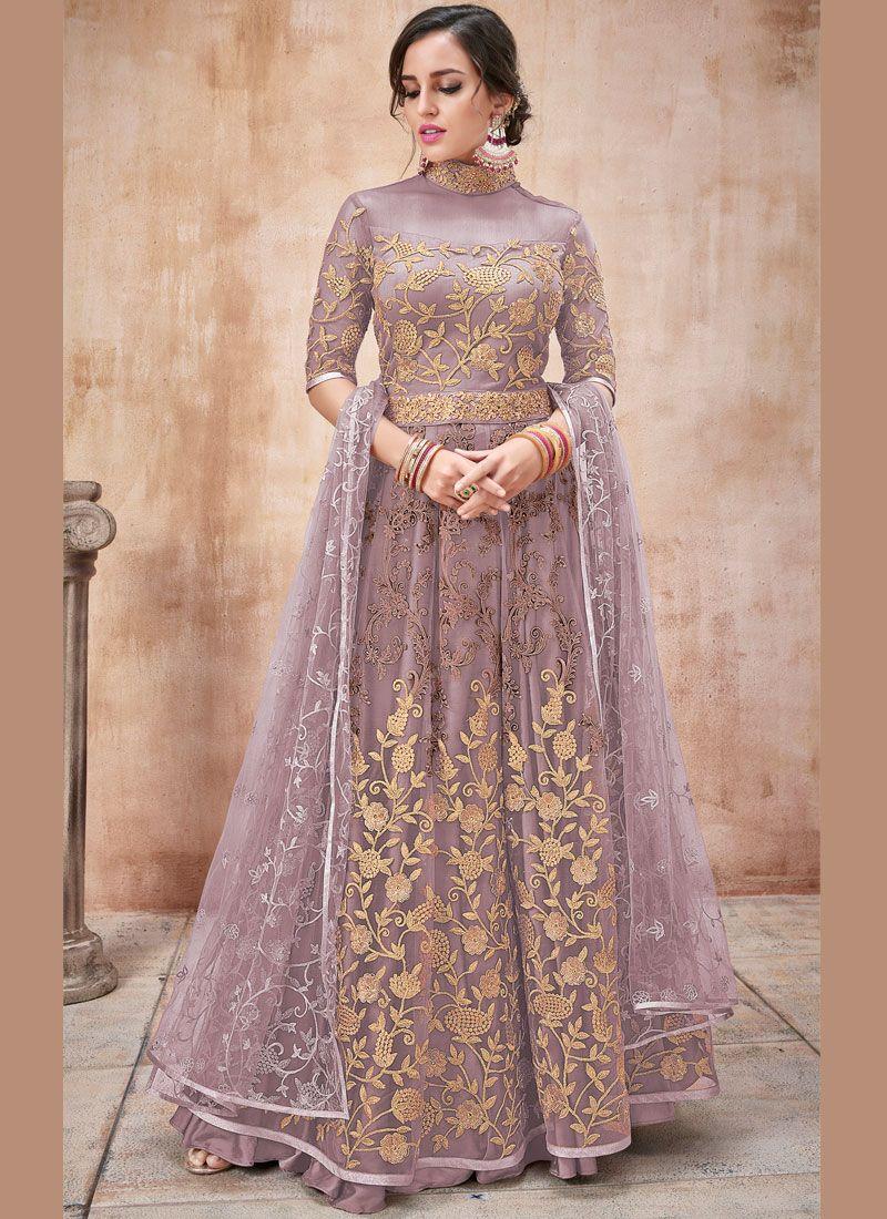 Designer Salwar Kameez Embroidered Net in Purple