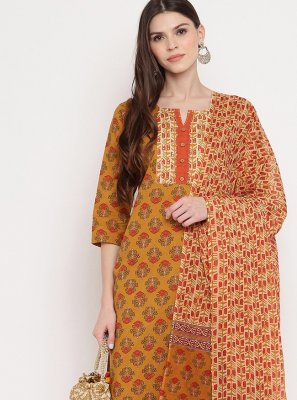 Designer Salwar Kameez Printed Cotton in Multi Colour