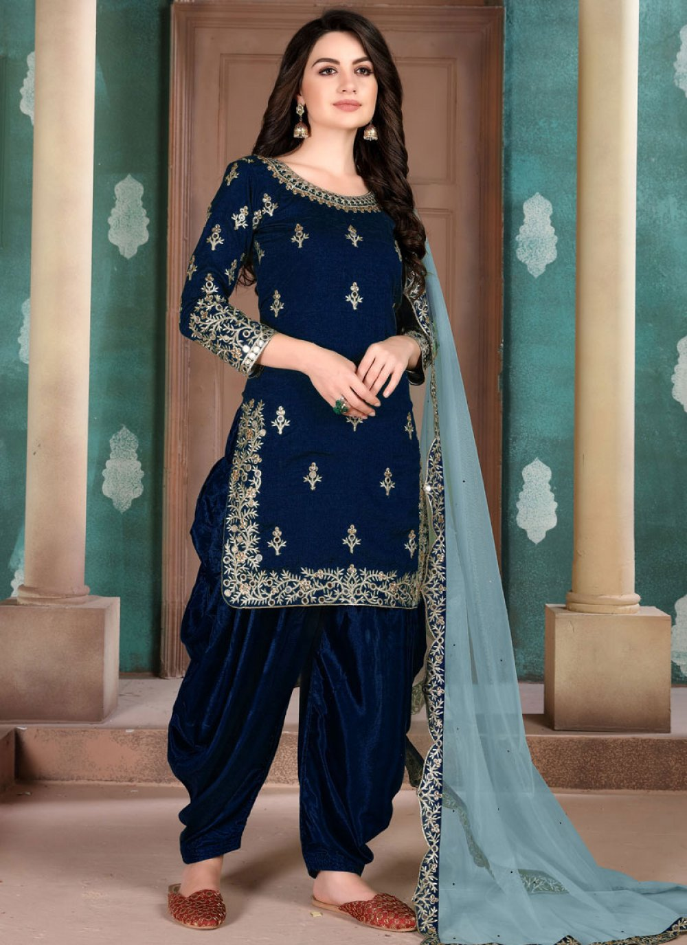 Designer Salwar Kameez Resham Art Silk in Navy Blue
