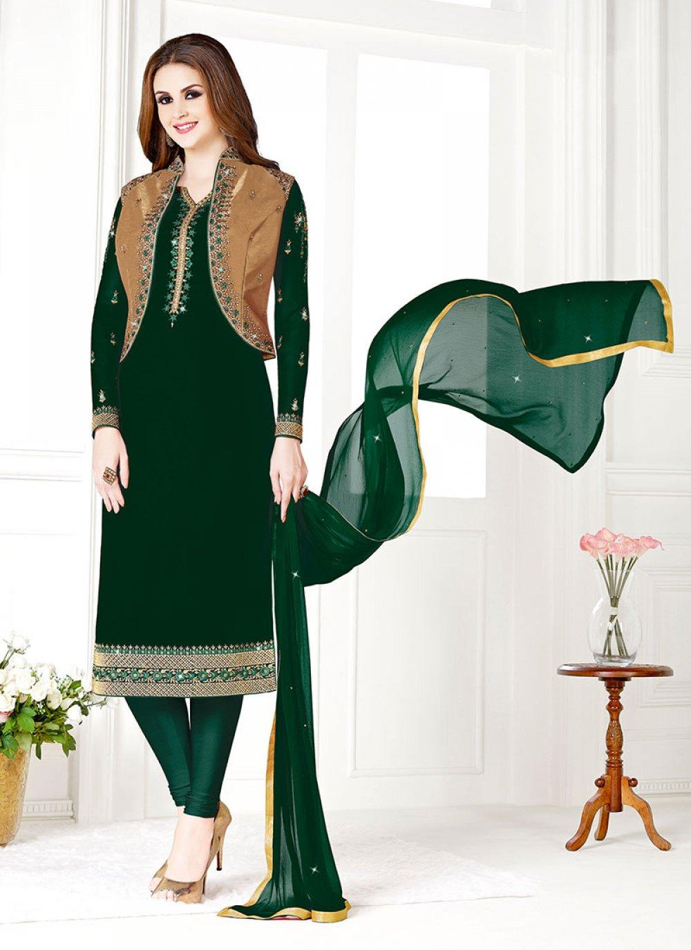Designer Salwar Suit Embroidered Art Silk in Green