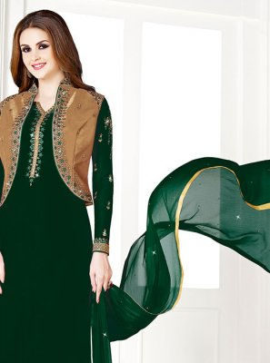 Designer Salwar Suit Embroidered Art Silk in Green
