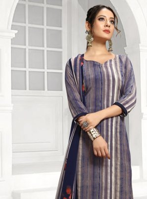 Designer Salwar Suit Printed Faux Crepe in Blue