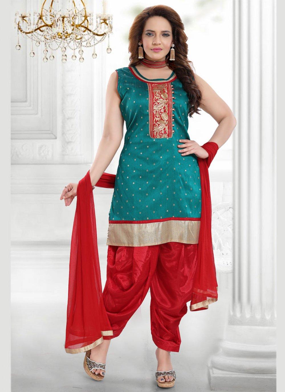 Designer Salwar Suit Resham Malbari Silk  in Green