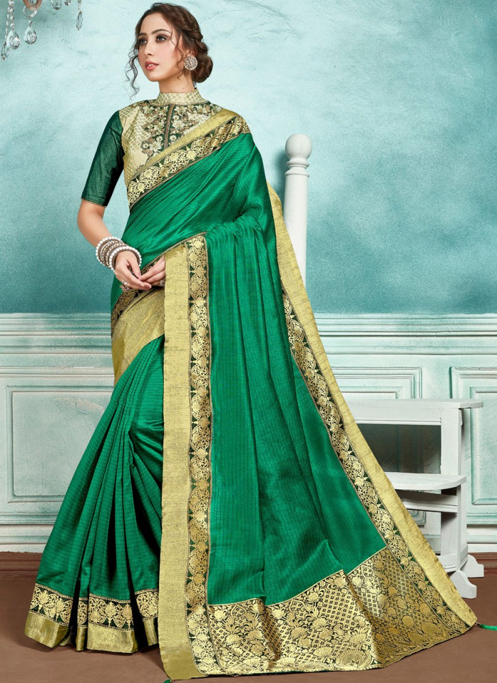 Designer Saree Border Jute Silk in Green