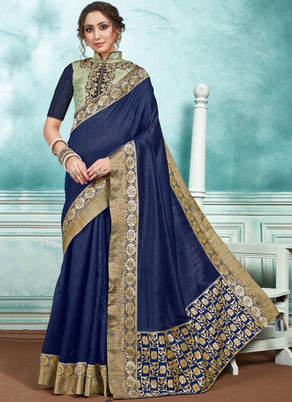 Designer Saree Border Jute Silk in Navy Blue