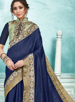Designer Saree Border Jute Silk in Navy Blue