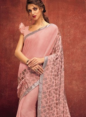 Designer Saree Designer Lycra in Peach