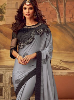 Designer Saree Embroidered Art Silk in Grey