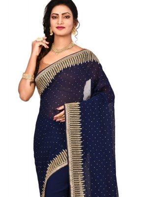 Designer Saree Embroidered Georgette in Navy Blue