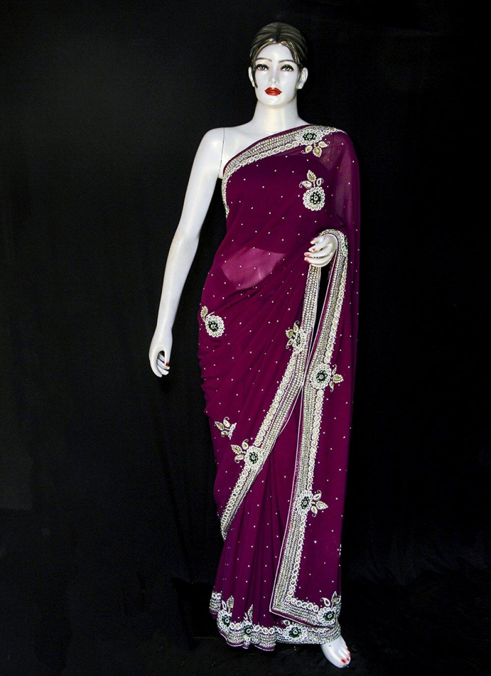 Designer Saree Embroidered Georgette in Purple