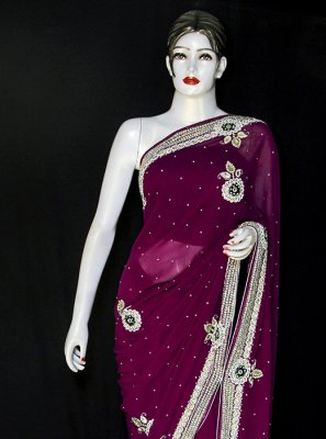 Designer Saree Embroidered Georgette in Purple