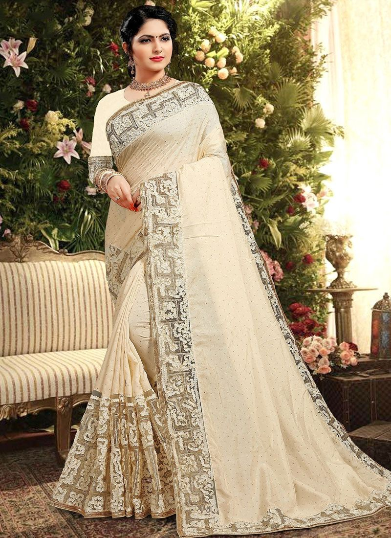 Designer Saree Embroidered Georgette Satin in Cream