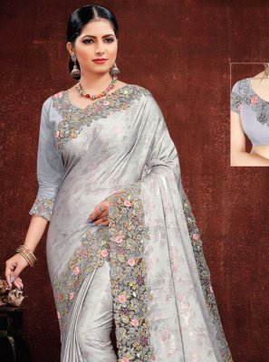 Designer Saree Embroidered Georgette Satin in Grey