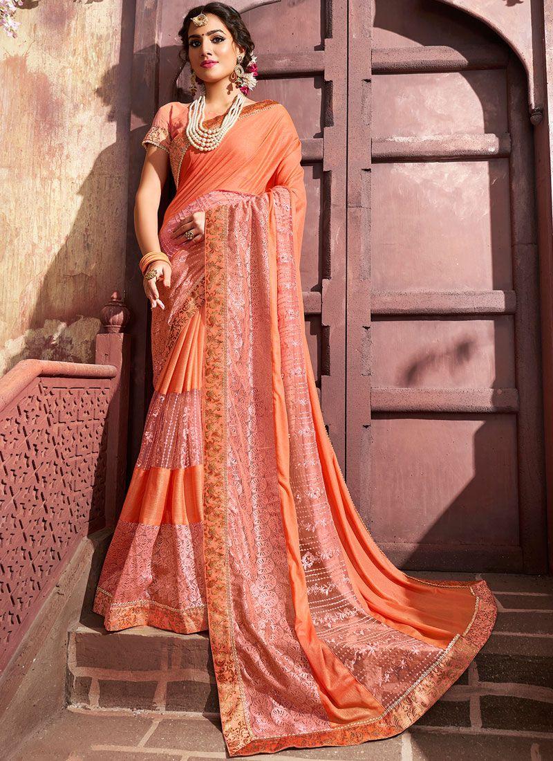 Designer Saree Embroidered Lycra in Peach