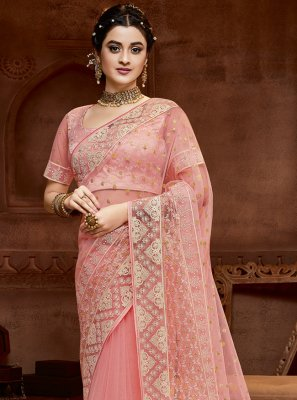 Designer Saree Embroidered Net in Pink
