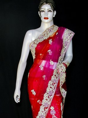 Designer Saree Embroidered Net in Pink and Red
