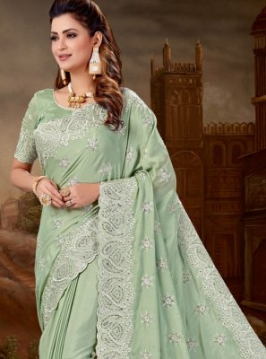Designer Saree Embroidered Pure Chiffon in Green
