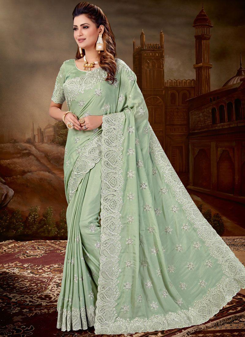 Designer Saree Embroidered Pure Chiffon in Green