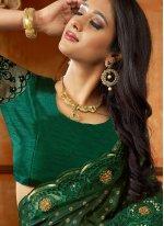 Designer Saree Embroidered Satin in Green