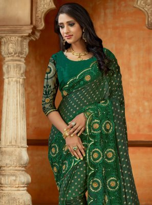 Designer Saree Embroidered Satin in Green