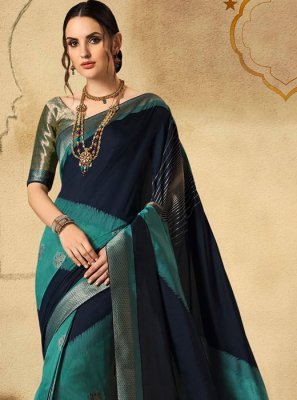 Designer Saree Fancy Jacquard Silk in Navy Blue and Turquoise