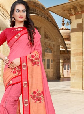 Designer Saree Lace Cotton in Pink