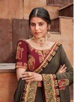 Designer Saree Patch Border Silk in Brown