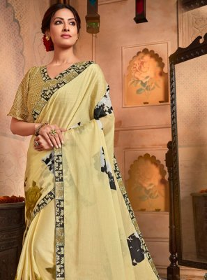 Designer Saree Printed Faux Chiffon in Yellow