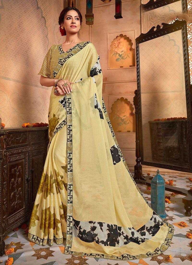 Designer Saree Printed Faux Chiffon in Yellow