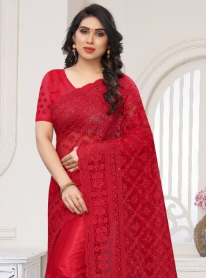 Designer Saree Resham Net in Red