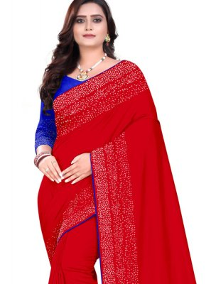 Designer Saree Stone Art Silk in Red