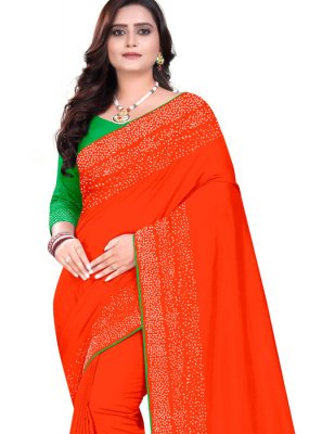 Designer Saree Stone Work Art Silk in Orange
