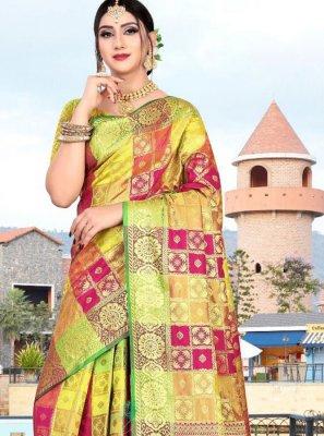 Designer Saree Weaving Art Silk in Multi Colour