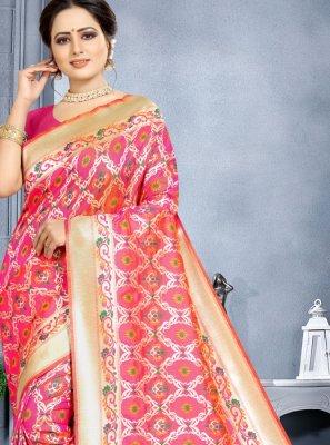 Designer Saree Weaving Banarasi Silk in Pink