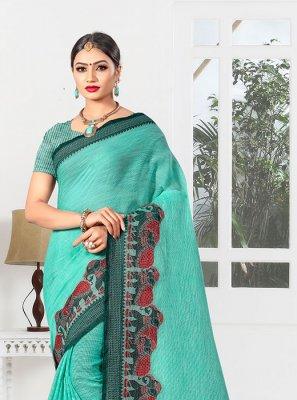 Designer Saree Weaving Linen in Sea Green