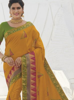 Designer Saree Weaving Silk in Mustard