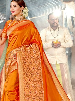 Designer Saree Weaving Silk in Orange