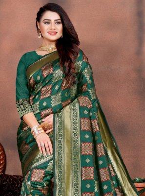 Designer Saree Weaving Silk in Teal